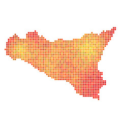 dot orange sicilia map vector image