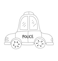 Dotted shape emergency police car transport with vector