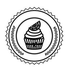Emblem muffin cupcakes icon design vector
