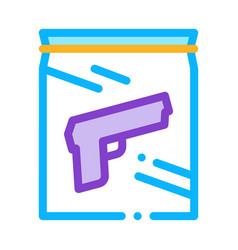 Evidence gun law and judgement icon vector
