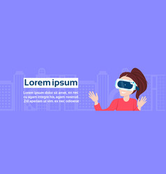 female in vr glasses over background with copy vector image