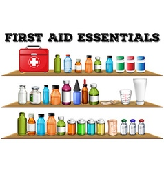 First aid essentials on the shelf vector