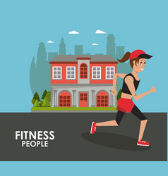 fitness people running vector image