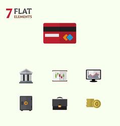 Flat icon finance set of diagram bank portfolio vector