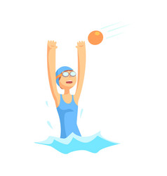 girl character in swimsuit and goggles playing in vector image