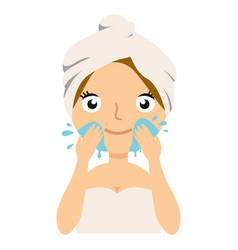 Girl cleaning her face with water woman caring vector