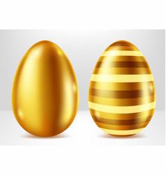 golden eggs easter metal gift realistic vector image