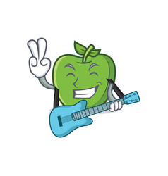 green apple character cartoon with guitar vector image