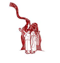 Group jewish blowing shofar horn vector