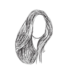 Hand drawn wig hair sketch vector