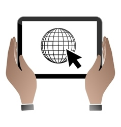 Hands hold and touch tablet PC vector image