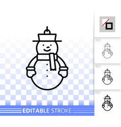 hanging snowman simple black line icon vector image