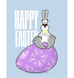 Happy Easter Rabbit and Easter egg Traditional vector image