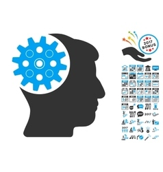 Head Gear Icon With 2017 Year Bonus Pictograms vector