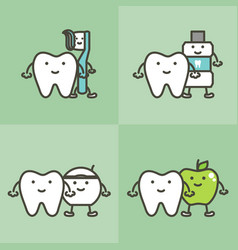 Healty tooth and best friends dental care concept vector