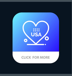 heart love american usa mobile app button android vector image