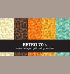 Hexagon pattern set retro 70s seamless vector
