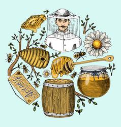 Honey waxing bee and beehive flyer poster organic vector
