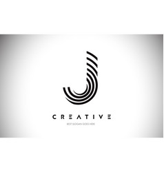 J lines warp logo design letter icon made with vector
