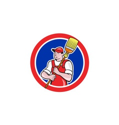 Janitor Cleaner Holding Broom Circle Cartoon vector image