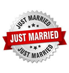 Just married 3d silver badge with red ribbon vector