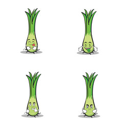leek character cartoon style set vector image