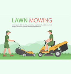 Man mowing lawn with yellow lawn mower vector