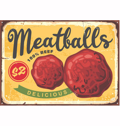 meatballs poster design in retro style vector image