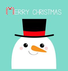 merry christmas snowman face head carrot nose vector image
