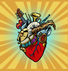Music in the heart musical orchestral instruments vector