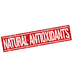 Natural antioxidants square grunge stamp vector