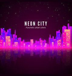Neon city landscape with glow and bright colors vector