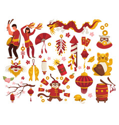 new year in china traditional symbols isolated vector image