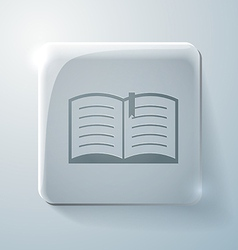 open book Glass square icon with highlights vector image