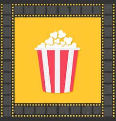 popcorn red yellow box film strip square frame vector image