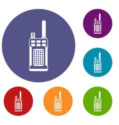portable handheld radio icons set vector image