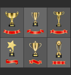 Prizes and trophies icons set vector