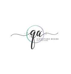 Q a initial letter handwriting and signature logo vector