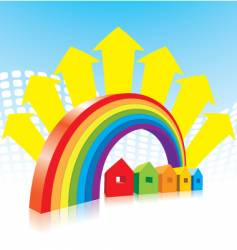 rainbow and houses vector image