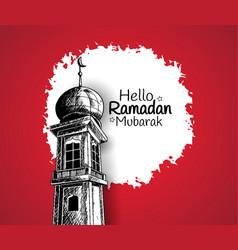 Ramadan mubarak mosque tower isolated on red vector