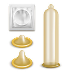 realistic 3d detailed latex condom set vector image