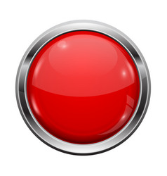 Red button with chrome frame round glass shiny 3d vector
