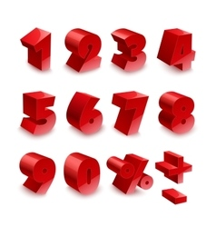 Red shiny 3d thick numbers isolated font on white vector