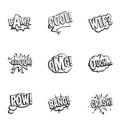 retro speech bubble icons set outline style vector image