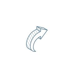 Right arrow isometric icon 3d line art technical vector