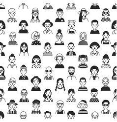 seamless pattern with faces or heads of old and vector image