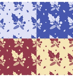 Seamless patterns with leaves vector image