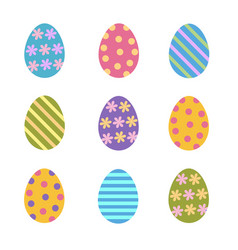 set of colorful easter eggs decorated stripes vector image