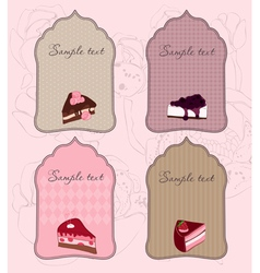 Set of cute cake tags for design vector