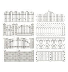 Set of gates and fences vector image